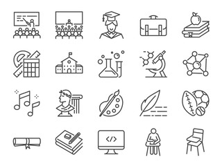Back to school icon set. Included the icons as education, study, lectures, course, university, book, learn and more.