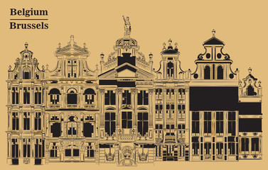 Grand Place in Brussels, Belgium, brown