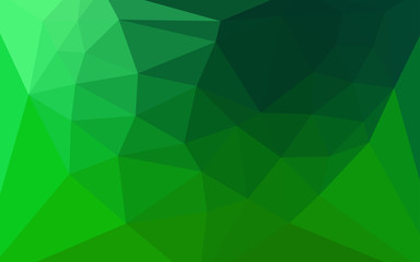 Dark Green vector triangle mosaic template with a heart in a centre.
