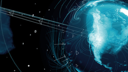.3d render of globe. Digital background with planet surrounded with particles and arcs. Technology concept.