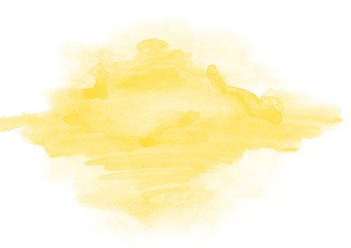 Yellow watercolor stain of a paint of the beautiful form on a white paper texture. Background for a logo, text, design, template, layout, banner and space for illustrations.