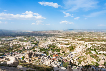 blue sky over Uchisar and valley in Cappadocia