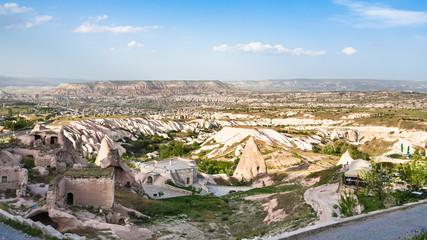 rock-cut buildings in Uchisar town in Cappadocia
