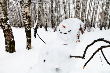 smiling snowman in birch grove in winter