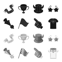 Pipe, uniform and other attributes of the fans.Fans set collection icons in black,monochrome style vector symbol stock illustration web.