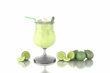 Lime Cocktail - 3d Rendering