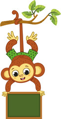 Cute monkey on a tree swinging with a board. Vector illustration.
