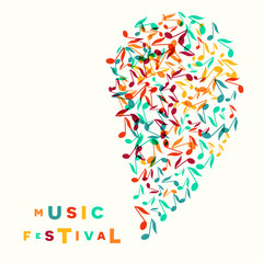 Colorful Music Festival notes background. Random colored musical festival poster design template. Music cloud vector Illustration
