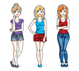 Attractive young women group standing wearing fashionable casual clothes. Vector people illustrations set. Slim female with perfect body. Fashion and lifestyle theme cartoons.