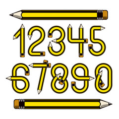 Set of vector numbers constructed with sharp pencils, office tools design, can be used for logo creation in engineering or construction business.
