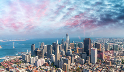San Francisco aerial skyline from helicopter on a sunny summer day
