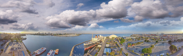 Wonderful panoramic view of Queen Mary from the air, Long Beach, California - USA