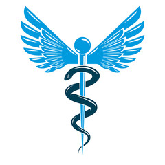 Caduceus symbol made using bird wings and poisonous snakes, healthcare conceptual vector illustration.