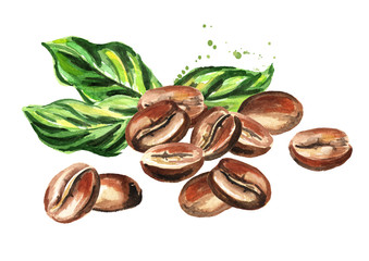 Coffee beans with green leaves composition. Watercolor hand drawn illustration  isolated on white background