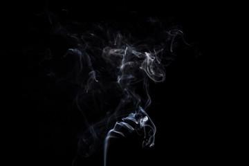 White smoky cloud of aroma stick