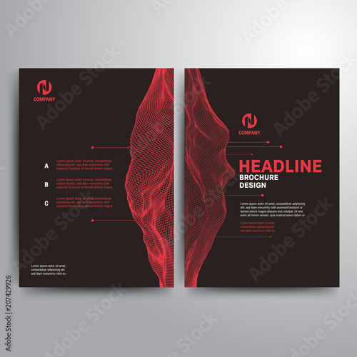 Business Brochure Template Red Gray Wireframe Landscape Stock