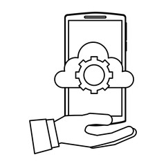 hand holding smartphone with cloud storage gear work vector illustration