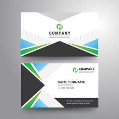 Modern business card with geometric blue green gray color