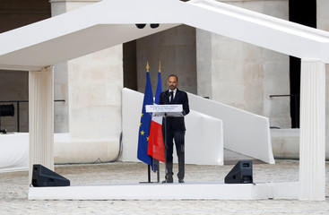 French Prime Minister Edouard Philippe delivers a speech  during a funeral military ceremony for the late French industrialist Serge Dassault in the Hotel des Invalides courtyard in Paris