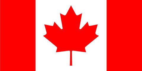 Официальный флаг Канады, в правильных пропорциях и цветах. Векторная иллюстрация.