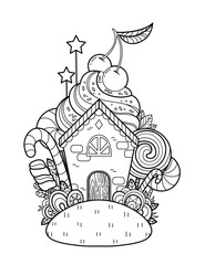 A fabulous Sweet Home. Page for coloring book, greeting card, print, t-shirt, poster. Hand-drawn vector illustration.