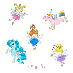 A collection of mythical characters. Fantastic cartoon characters. Lovely fairies and unicorns.