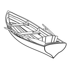 Wooden boat with oars outline drawing, coloring sketch, monochrome graphic picture, black and white vector illustration. Skiff from wooden board with two paddle and seats, isolated on white background