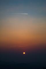 Light sunset behind the mountains Nern Chang Suek  hills, Kanchanaburi, Thailand