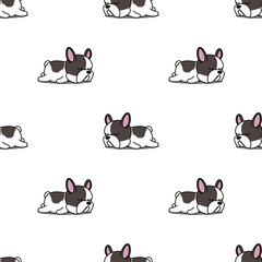 Cute french bulldog puppy sleeping seamless pattern, vector illustration