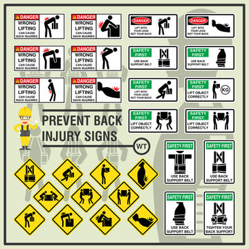 Set of safety signs and symbols of back injury prevention. Safety signs use to remind workers to be aware of their back safety in the workplace.