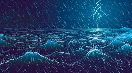 Vector large ocean waves in rainy storm at night