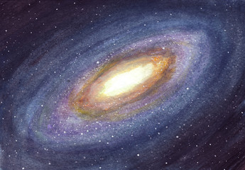 Space background. Galaxy and stars in watercolor.
