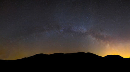 mountain chain silhouette  under a milky way