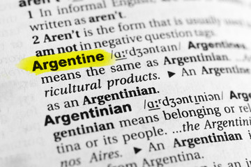 """Highlighted English word """"argentine"""" and its definition in the dictionary"""