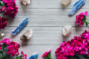 Blue Kyanite and Quartz with Pink Flowers