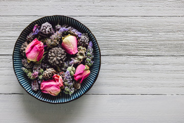 Bowl of Dried Lavender, Rose, and White Sage Flowers