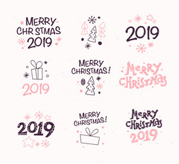 Vector collection of Merry Christmas congratulation compositions with text and outline traditional decor icons - fir tree, snowflake, gift box, cone, star etc. Winter holiday sticker set. Line art.
