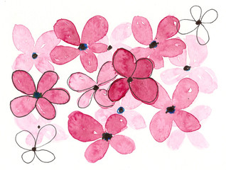 hand drawn watercolor pink flowers