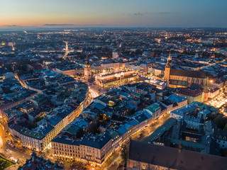 Cracow at night / aerial view Fotomurales