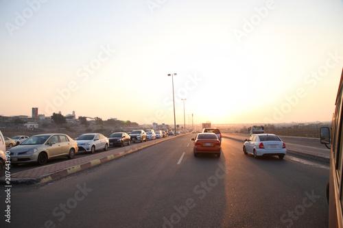 Roads in the desert at sunset,Saudi Arabia Jeddah
