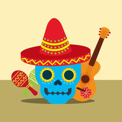 viva mexico celebration smiling skull with guitar colorful rattles vector illustration