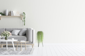 Living room interior wall mock up with grey velvet sofa and plants, 3d render