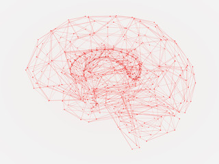 3d Illustration of a human brain consisting of lines and polygon shapes