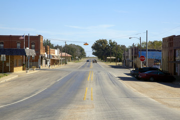 Main street in small rural town, US, 2017.