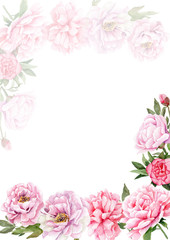 watercolor drawings of peonies. Templates for letters, invitations, logos