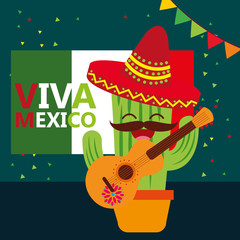 viva mexico cheerful cactus cartoon guitar and hat vector illustration