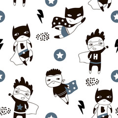 Seamless pattern with cute boy hero. Creative childish texture in scandinavian style. Great for fabric, textile Vector Illustration
