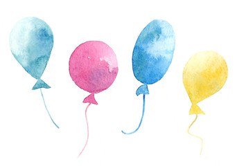 Watercolor collection of air balloons.
