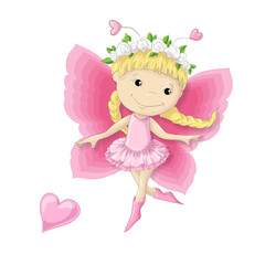Pretty cartoon character a butterfly girl in a wreath of flowers and a pink dress.