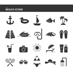 Isolated black collection icon of cocktail, badminton, flippers, hat, jet ski, sunglasses, shell, sailboat, anchor, ring rubber, palm, sunscreen, swimsuit photo camera. Set of silhouette beach icon.